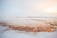 Geyser during the winter, Iceland, Scandinavia. Europe Stock Photography