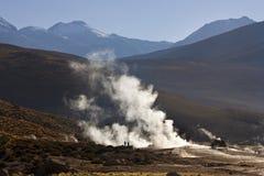 Geyserfält för El Tatio - Chile - Sydamerika Fotografering för Bildbyråer