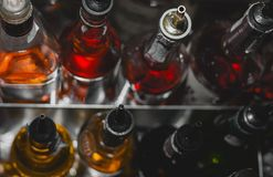 Geysers on bottles in the bar. And nightclub Stock Photos