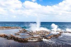 Geysers de mer Image libre de droits