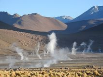 Geysers del Tatio, Atacama-woestijn, Chili stock foto