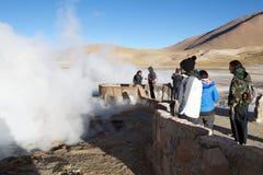 Geysers för El Tatio, Chile Arkivbilder