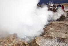 Geysers för El Tatio, Chile Arkivfoto