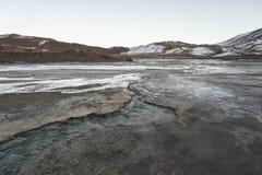 Geysers för El Tatio, de största geysersna av den sydliga halvklotet nästan platån av San Pedro de Atacama, Calama, Antofagasta Arkivfoto