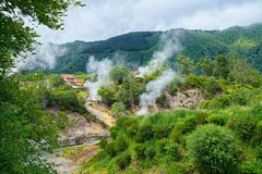 Geysers in Furnas valley, Sao Miguel island, Azores, Portugal. View of Furnas valley and evaporations from natural geysers of boiling mineral water, with stock photos