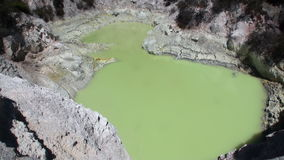 Geysers green water hot springs on background of soil in New Zealand. Beautiful landscape amazing nature. Travel and tourism in the world of wildlife stock footage