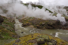 Geysers and hot river Kamchatka Royalty Free Stock Photos
