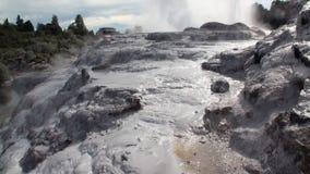 Geysers Hot Springs no fundo do horizonte da floresta e do céu em Nova Zelândia vídeos de arquivo
