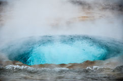 Geysers of Iceland. Bubbling water of Stokkur Fountain Geyser, Iceland Royalty Free Stock Photo