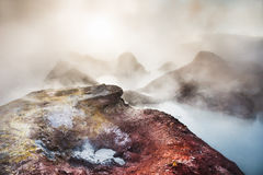 Geysers Sol de Manana on Altiplano, Bolivia Stock Photography