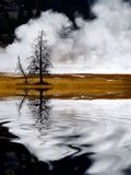 Geysers and Steam Rising in Yellowstone National Park Reflection Reflecting in Water Pond or Lake royalty free stock image