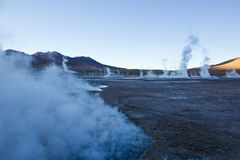 Geysers before sunrise are almost non active stock photography