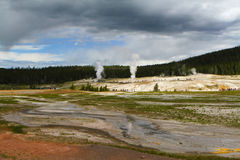 Geysers in the Upper Basin of Yellowstone Royalty Free Stock Images