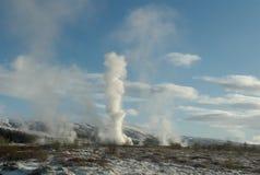geysir强大的冰岛 库存图片