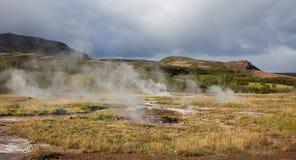 Geysir的,冰岛温泉城 图库摄影