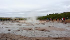 Geysir geothermal area and strokkur royalty free stock photo