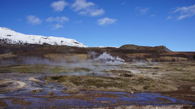 Geysir landscape. Smoky overview of the Geysir landscape in Iceland royalty free stock images