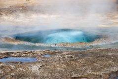 Geysir. The little gejsir and its eruption on Island stock photo