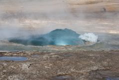 Geysir. The little gejsir and its eruption on Island Stock Images
