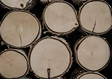 Gezaagde logboeken, berkboomstammen Gezaagd en gestapeld brandhout en logboeken royalty-vrije stock foto