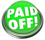Gezahlt weg Wort-von der grünen Knopf-Darlehens-Hypotheken-Restzahlung Lizenzfreies Stockbild