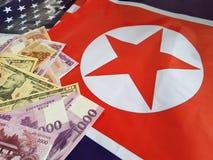 Gezamenlijke ontwikkeling van investeringen tussen de Verenigde Staten en Noord-Korea stock foto