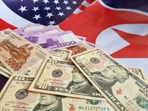 Gezamenlijke ontwikkeling van investeringen tussen de Verenigde Staten en Noord-Korea stock fotografie