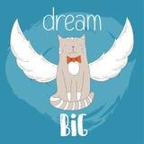 Gezeichnete Abbildung der Katze Hand großes Traumplakat für Kinderbabyt-stück Kleidungsdruck, Karten und andere entwerfen Lizenzfreie Stockfotos