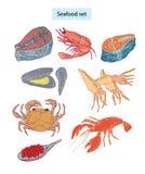 Gezeichnete Abbildungen der essbaren Meerestiere gesetzte Hand Lizenzfreies Stockfoto