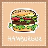 Gezeichnete Art des Karikaturhamburgers in der Hand mit Text Lizenzfreies Stockfoto
