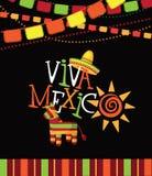 Gezeichnete Art Design Viva Mexicos Hand Lizenzfreie Stockbilder
