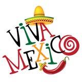 Gezeichnete Art Design Viva Mexicos Hand Lizenzfreie Stockfotos