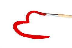 Gezeichnete Bürste des Herzens Form mit roter Farbe Lizenzfreie Stockfotografie