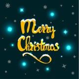 Gezeichnete Beschriftung der frohen Weihnachten Hand Lizenzfreie Abbildung