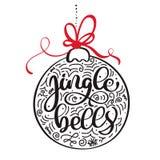 Gezeichnete Beschriftung der Klingelglocken kalligraphische Hand Weihnachts- und des neuen Jahreshintergrund mit rotem Bogen und  Stockfoto
