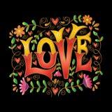 Gezeichnete Beschriftung der Liebe Hand Hand gezeichnete Abbildung stock abbildung