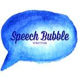 Gezeichnete blaue Spracheblase des Vektors Aquarell Lizenzfreie Stockbilder