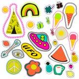 Gezeichnete die Hippiestickerei-Neonhand bessert Sammlung aus gesetzter Illustrationskaffee des Vektors, Pfeil, Wigwam, Regenboge Stockfoto