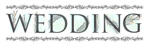 Gezeichnete elegante Blätter der Alphabethochzeits-Einladung einfarbige Hand Auch im corel abgehobenen Betrag Weinlese-Retro- Art lizenzfreie abbildung