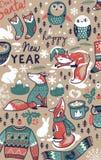 Gezeichnete Elemente der frohen Weihnachten Hand in der Karikatur reden Hintergrund an Auch im corel abgehobenen Betrag Lizenzfreies Stockfoto