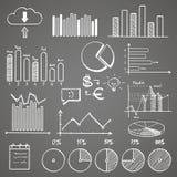 Gezeichnete Elemente des Geschäftsfinanzgekritzels Hand mit lizenzfreie abbildung