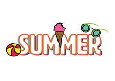 Gezeichnete Elemente des Logoschlagzeilen-Sommers Hand lizenzfreie abbildung