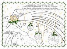gezeichnete Färbungsseite des Kometen Hand lizenzfreie abbildung