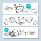 Gezeichnete Fahnen des Vektors Hand Käsesammlung Gezeichnete Illustration des Vektors Hand von Käsearten vektor abbildung