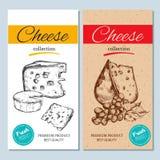 Gezeichnete Fahnen des Vektors Hand mit Käse Getrennt lizenzfreie abbildung