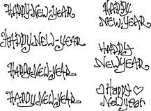 Gezeichnete flüssige gelockte Graffitigüsse des guten Rutsch ins Neue Jahr-Wunsches Hand Stockfotografie