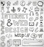Gezeichnete Gekritzel des Internet- und Netzentwurfs Hand Stockfoto