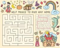 Gezeichnete Gekritzelillustration des Vektors Hand des Labyrinths mit Märchencharakteren Lernspiel für Kinder Stockfotos