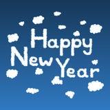 Gezeichnete Gekritzelwolken des guten Rutsch ins Neue Jahr Hand Stockfoto