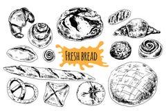 Gezeichnete gesetzte Illustration des Brotvektors Hand lizenzfreie abbildung